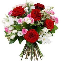 Ramo variado con rosas y claveles