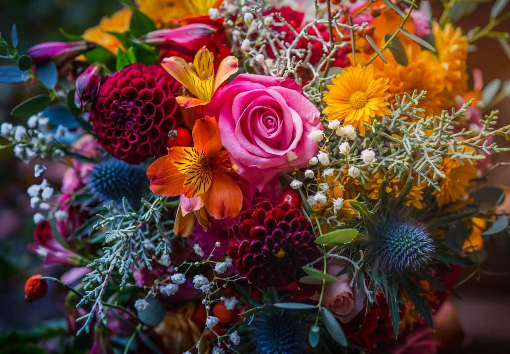 Composición floral colorida preciosa